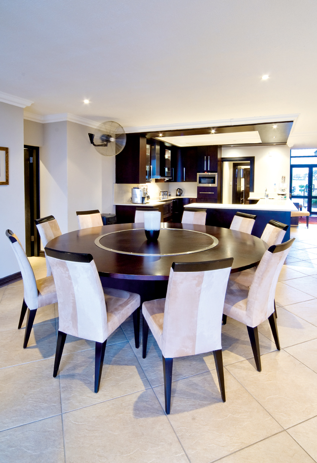 modern, open plan kitchen and dining room