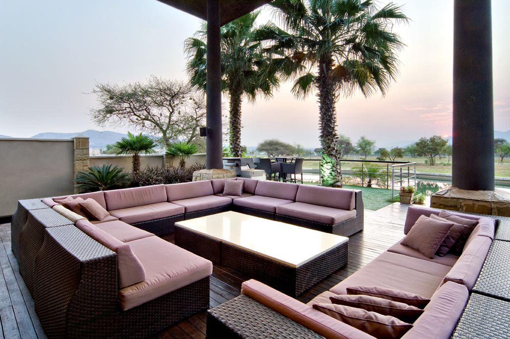 outdoor entertainment area with patio furniture