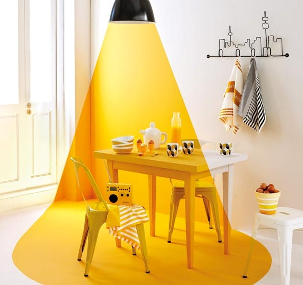 Black pendant light, Loft Living. Chairs and stool, Chair Crazy. Radio, i-Fi. Yellow tea towels, bowls and coffee cups, Country Road at Woolworths. Tea pot and jug, Entrepo. Yellow egg cups, Boardmans. Skyline hooks, Abode. Blackstriped tea towel, O.live.