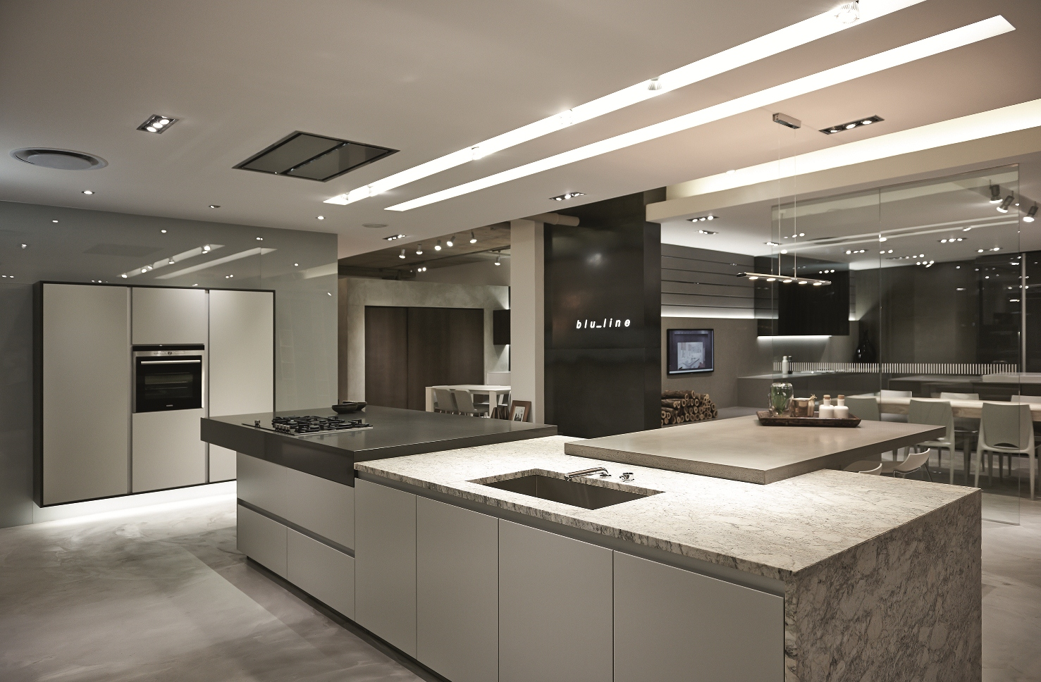 New blu line showroom at design quarter for 4m kitchen ideas
