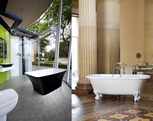 Ravello free standing bath in black and white R21 995 (left) and Richmond free standing bath in black and white R9 500 (right)
