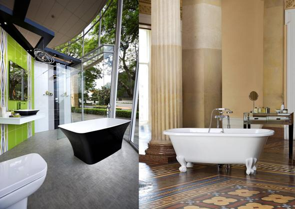 Ravello free standing bath in black and white R21 995  left  and Richmond free. Baths as art