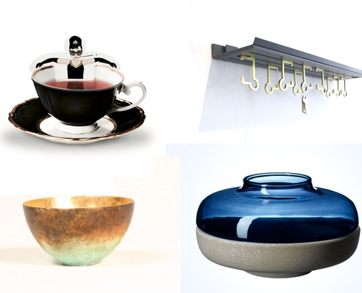 Cup of fame (top left), Dean wall hook (top right), Bronze bowl (bottom left) and blue tinted glass and resin tea light holder (bottom right)