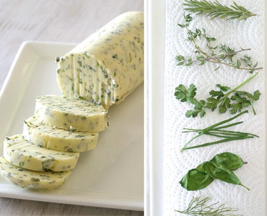 Herb butter (left) Dried herbs (right)