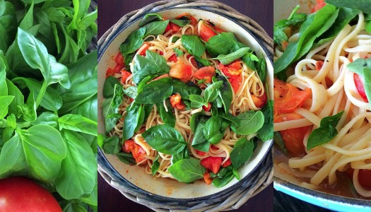 Tomato and basil linguini