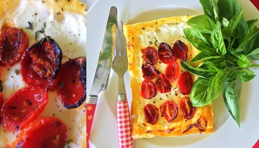 Goats cheese and roasted thyme cherry tomato tarts